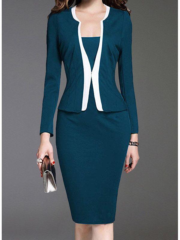 Shawl Collar Single Breasted Decorative Button Colouring Bodycon Dress
