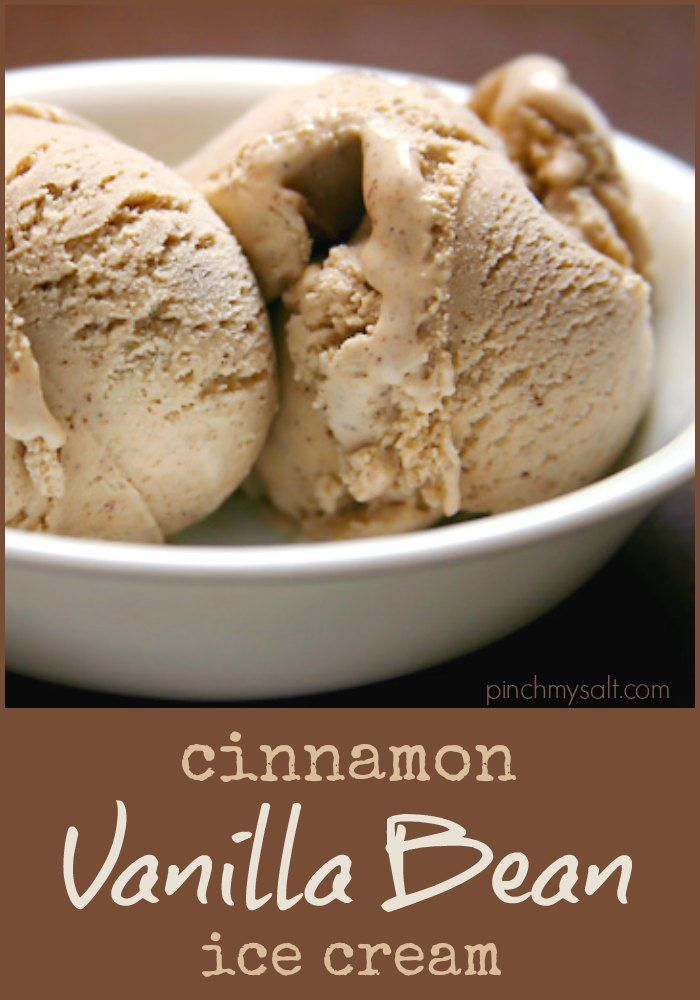 Homemade Cinnamon Ice Cream recipe with vanilla bean. This delicious ice cream starts with a custard made with half-and-half, cream, eggs, and sugar. It freezes beautifully in an electric ice cream maker like my favorite cuisinart ice cream machine. Perfect to serve alongside Thanksgiving or Christmas pies. | pinchmysalt.com