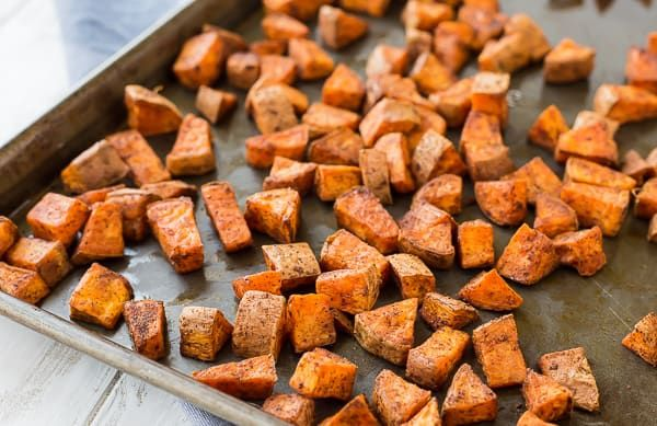 Oven Roasted Sweet Potatoes – Southwestern Style The chili powder and cumin coating on these oven roasted sweet potatoes makes them absolutely perfect in burrito bowls, on tacos, or on their own!
