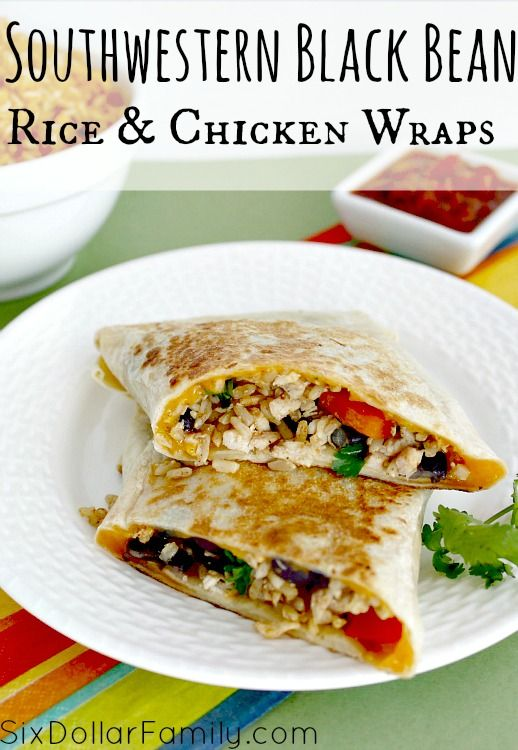 "Southwestern Black Bean & Chicken Wraps Recipe - Crispy chicken, rice, black beans and more come together in this absolutely delicious Crispy Southwest Chicken Wrap recipe! It's a fantastic solution for that pesky ""what to eat"" problem!"