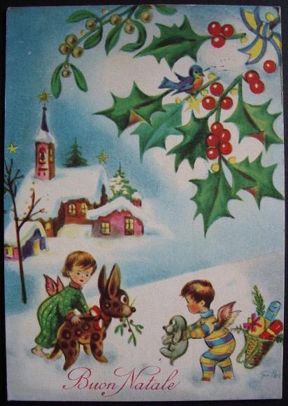 Cartoline buon natale anni 60 di maria pia cerca con for Immagini cartoline di natale