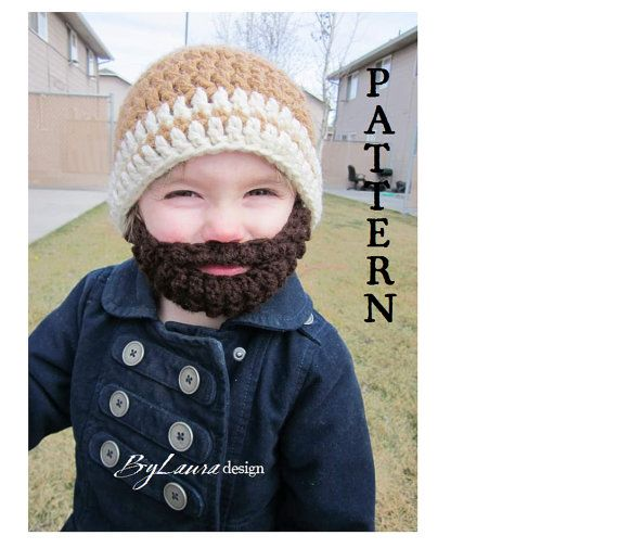 Bearded Beanie! The Beanie is crocheted with two strands of yarn ...
