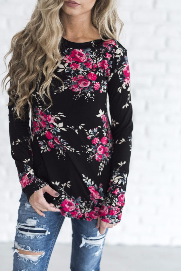 Cassidy Floral Top  \\  black floral shirt, flower shirt, boutique, cute shirt, outfit idea, ripped jeans, distressed denim, floral shirt, pink flowers