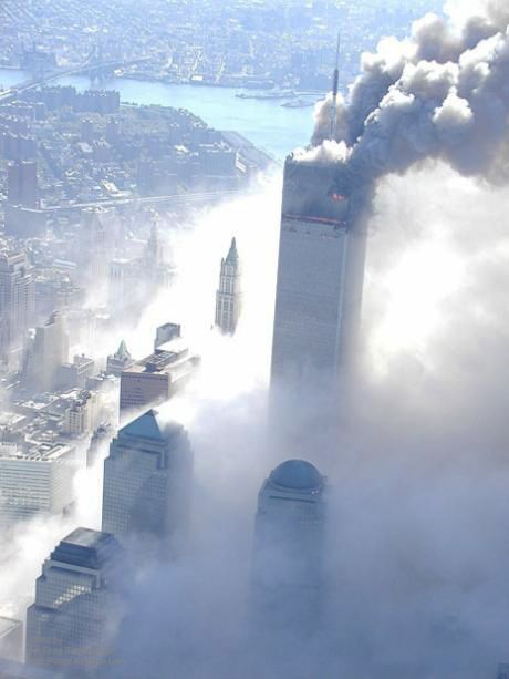 North tower burning-south tower collapsed. #WorldTradeCenter Twin Towers (Two of the 4 Targets of #911) Remembering and Honoring the Heroes of 9-11-2001