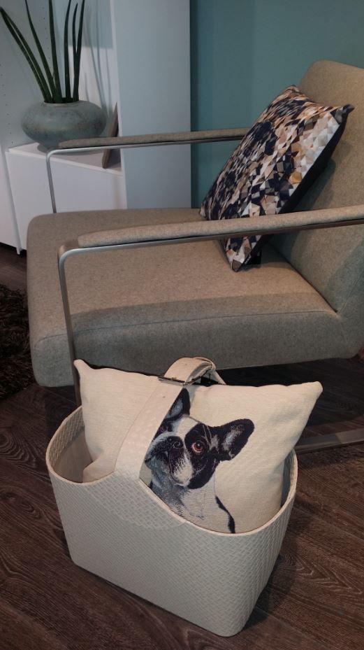 BoConcept - So cute, French Bulldog cushion, Leather magazine holder, Ross chair.