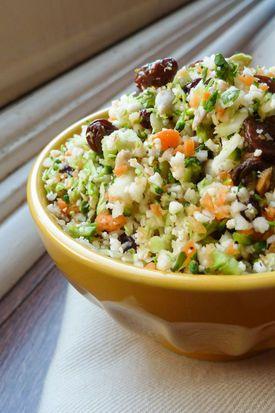 Detox Salad: broccoli, cauliflower, carrot, raisins, currents, sunflower seeds, lemon juice, parsley, kelp granules, salt and pepper.