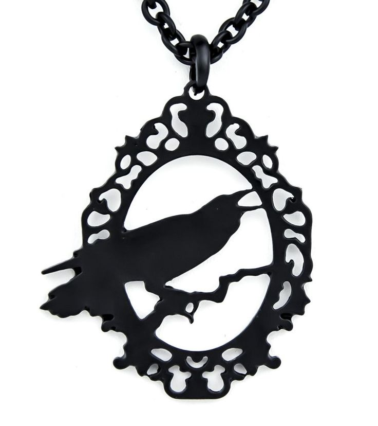Black Raven Silhouette Necklace Edgar Alan Poe Pendant