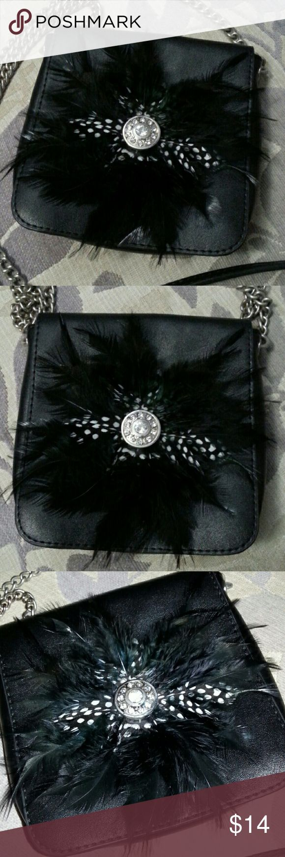 small, fun & classy cross-shoulder purse Small, black, leather purse with feathers and beads. Long chain for over shoulder / cross body wear. Bags Crossbody Bags