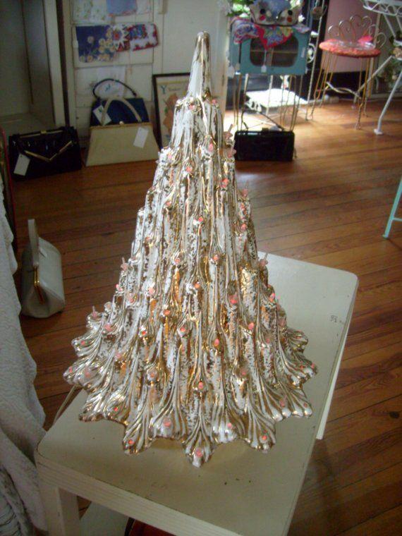 Vintage Ceramic Christmas Tree | Vintage White and Gold Ceramic Christmas Tree 19 by thevintageelf