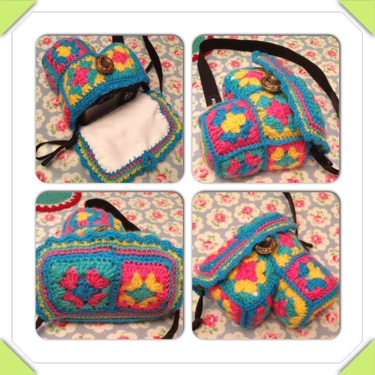 Camera case granny squares crochet lined with cotton