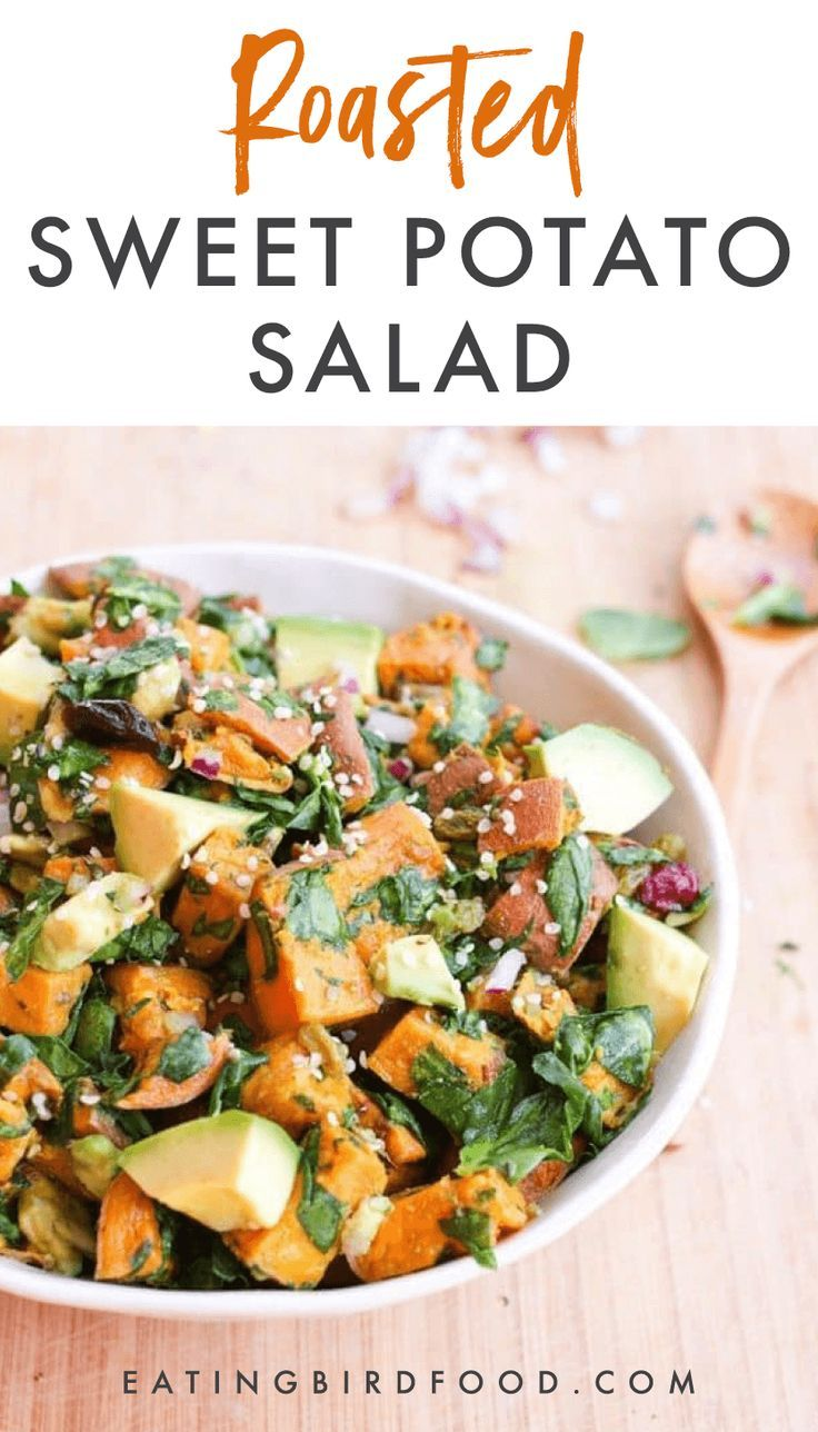 Roasted Sweet Potato Salad // Skip the white potatoes and make this roasted swee…