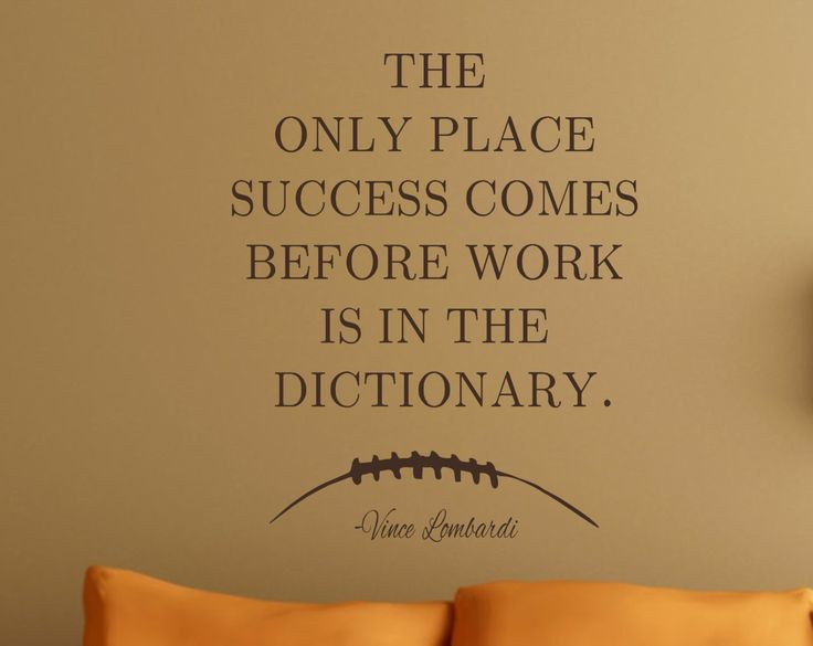Football Quote-Work Success-Vince Lombardi-Vinyl Wall Decal- Man Cave-Work Hard-Football-Boys Bedroom Decor by landbgraphics on Etsy