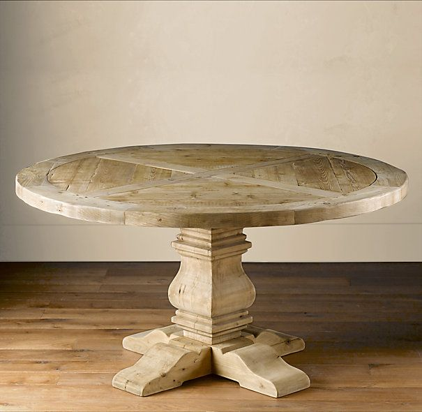 Restoration Hardware Salvaged Wood Pedestal Table By Annabelle