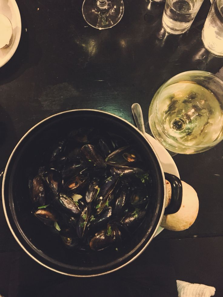 Mussels in white wine cream sauce at Mourne Oyster Bar, Belfast.