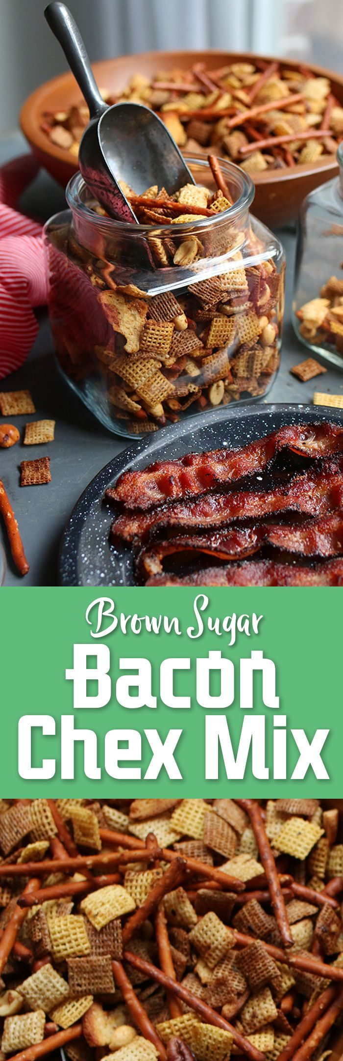 Easy Brown Sugar Bacon Chex Mix recipe! With a burst of bacon flavor and a hint of sweetness, you'll want to eat this incredible snack all day. Perfect party food! Free printable gift tags for simple DIY holiday homemade gifts in a jar. #iworkwithchex #madewithchex