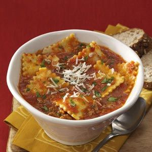 Ravioli Soup.  This is a staple in our house, definitely a crowd-pleaser!