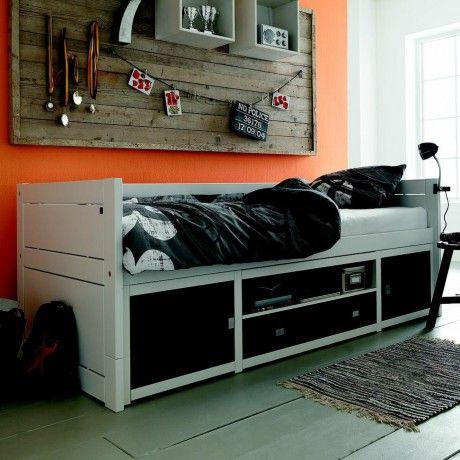 Lit à rangements 90x200 laqué black and white (Alfredetcompagnie) - mur orange