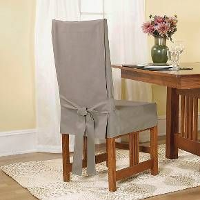Update the look of your dining room furniture with this chair slipcover. The loose fitting piece features a back tie to keep it secure. The blue stone color will add a pop of color to the room. Machine wash it for easy care.