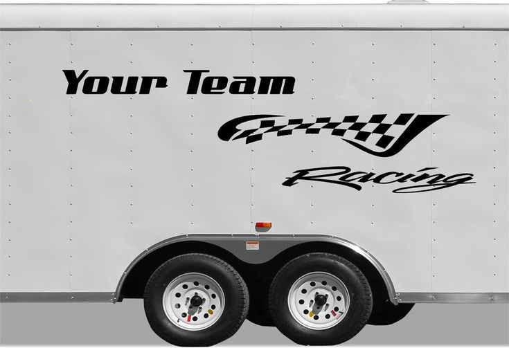 Checkered racing stripe trailer decal vinyl decal custom text trailer sticker cf102