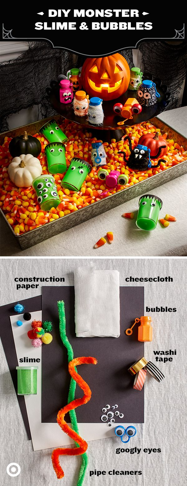 Teal Pumpkin Treats, Halloween treats that avoid food allergies, have gotten bigger and better this year. Check out these 2 great DIY ideas for non-food treats - individual bubble or slime party favors from the Spritz party aisle, charged up with a little Halloween personality with google-eyes, cheese cloth, markers and washi tape. Perfect choices for super-fun take-home treats.