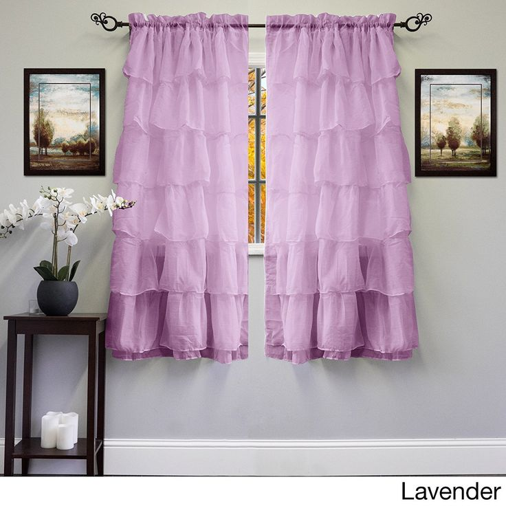 63 inch Girls Lavender Gypsy Window Curtain Single Panel Purple Color Bohemian Ruffled Pattern Layered Overlapping Ruffles Gypsies Hippie Themed Hippy