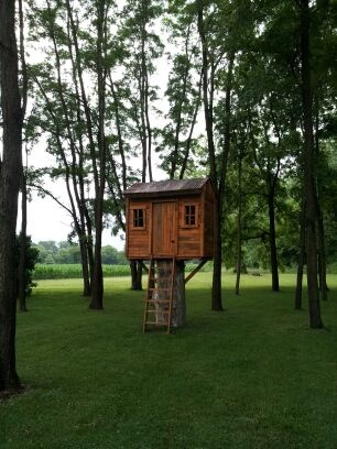 Tree house made out of pallets.