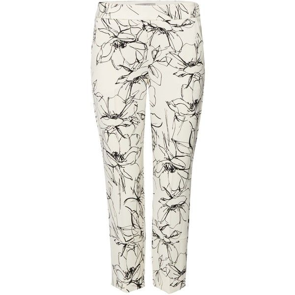 Marella Sigma floral print crepe trousers ($205) ❤ liked on Polyvore featuring pants, white, women, flower print pants, floral print trousers, marella, floral printed pants and white trousers