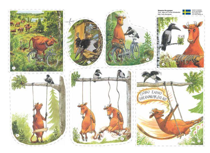Mamma Mu är verkligen en härlig kossa - ingenting är omöjligt! En barnbok av Jujja Wieslande och Sven Nordqvist. Nu som flanosaga, två st. flanellografark.