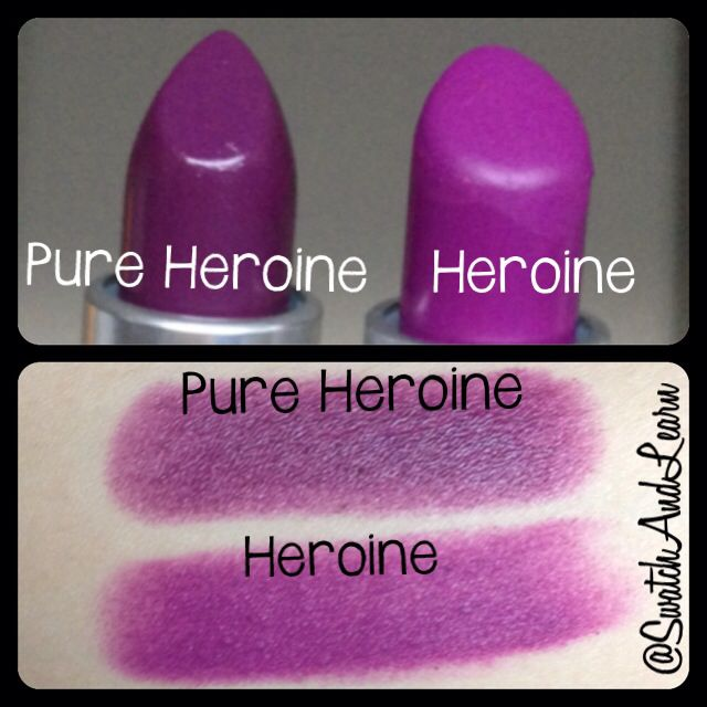 Here are quick comparison swatches of MAC Pure Heroine Lipstick (from the Lorde Collection) and MAC Heroine Lipstick. A more detailed review and/or comparison may be on SwatchAndLearn.com later.