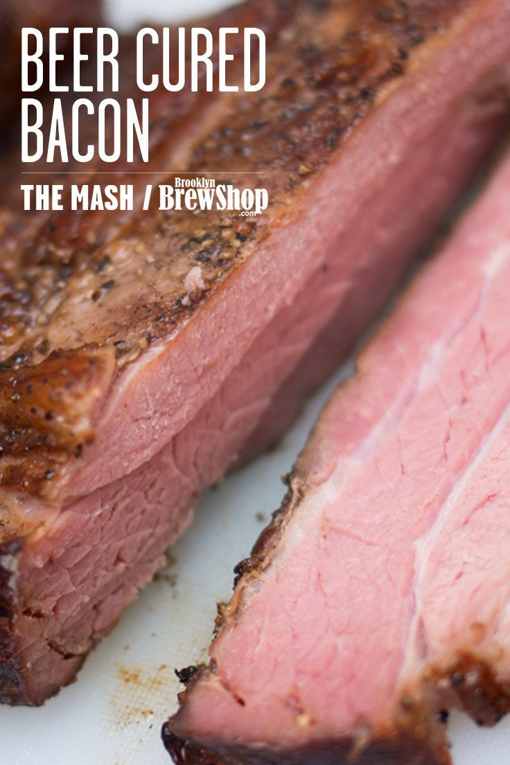Beer cured hickory smoked bacon. This bacon was cured with our Coffee Donut Stout! Get the recipe on The Mash: http://brooklynbrewshop.com/themash/recipe-beer-cured-bacon/