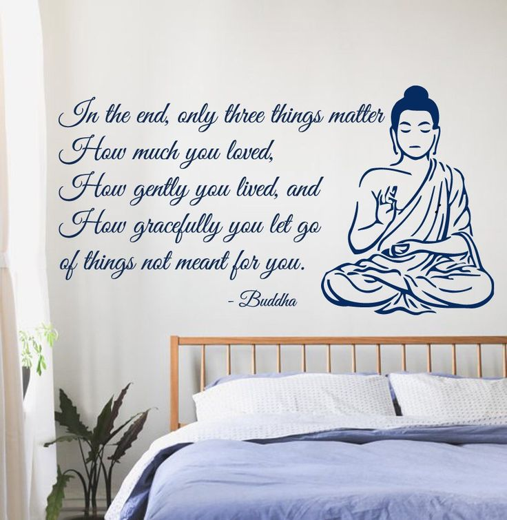 Buddha Wall Decals Quote Only Three Things Matter Yoga Gym Decor Vinyl Decal Sticker Home Interior Design Art Mural Bedroom Decor KG14 by WallDecalswithLove on Etsy https://www.etsy.com/listing/211976693/buddha-wall-decals-quote-only-three