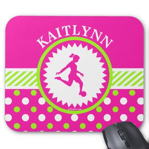 Monogrammed Girls Soccer Pink - Green Polka-Dots