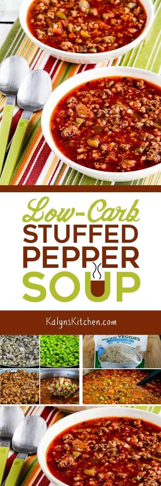If you like the flavors of stuffed peppers but don't want the carbs, you'll love this Low-Carb Stuffed Pepper Soup. And this delicious soup is also Keto, low-glycemic, gluten-free, and South Beach Diet Phase One.  [found on KalynsKitchen.com] #StuffedPepperSoup #SoupRecipe #LowCarb #Keto #LowGlycemic #GlutenFree #SouthBeachDiet
