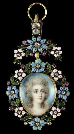 Mary Robinson, after Richard Cosway (artist and date unknown). Mary is depicted wearing white dress with frilled collar and strand of pearls, her hair powdered.