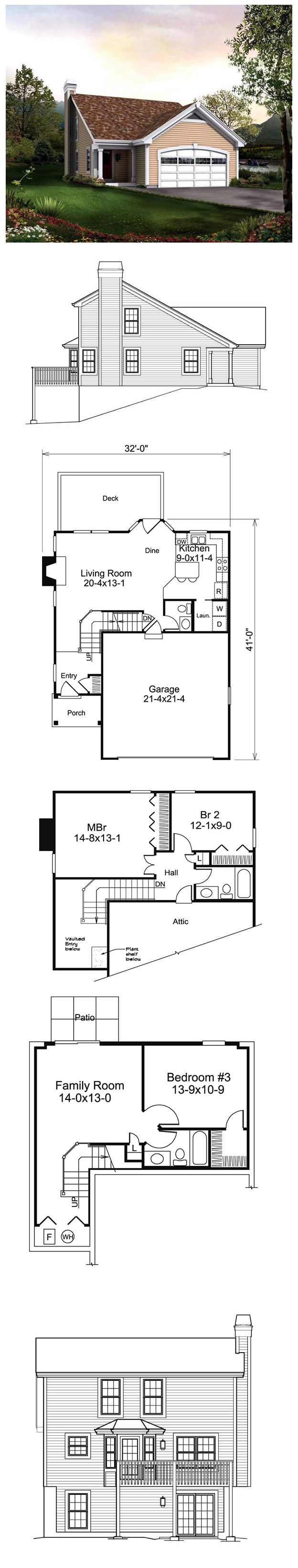 Saltbox traditional house plan 95838 for 1 bedroom hall kitchen plan