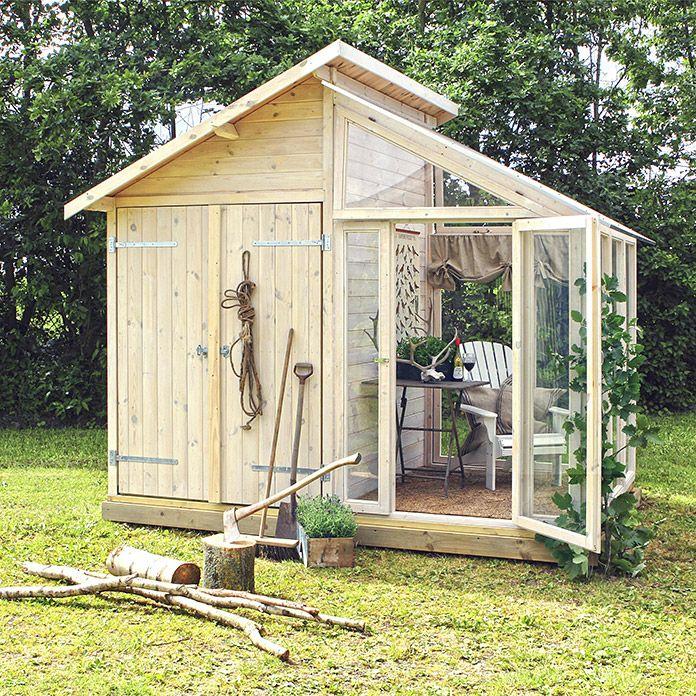 Plus Geratehaus 2 08 X 3 6 M Mit Glasanbau Garten Gewachshaus Garten Gartenecke