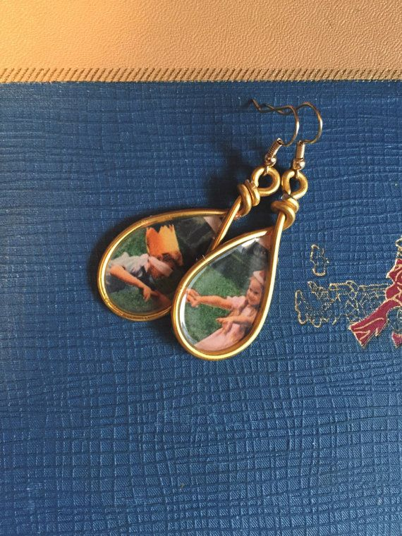 1960s National Geographic Photo Earrings Gold Dangle by Wikklow