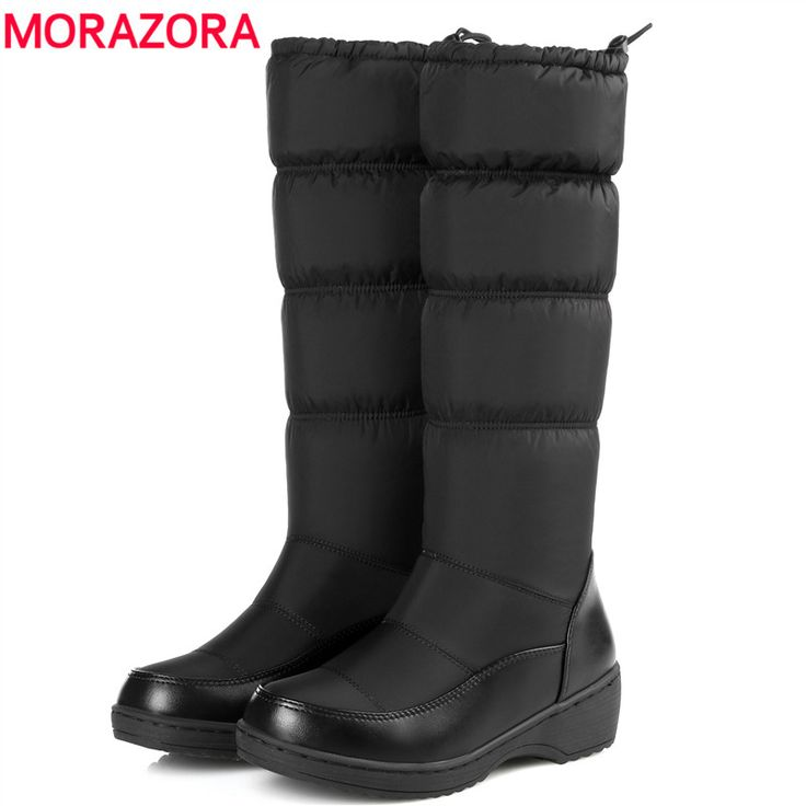 MORAZORA 2017 mode halten warme daunen snow stiefel dickes fell innen gummiband mittlere waden winter stiefel plattform schuhe frauen boot
