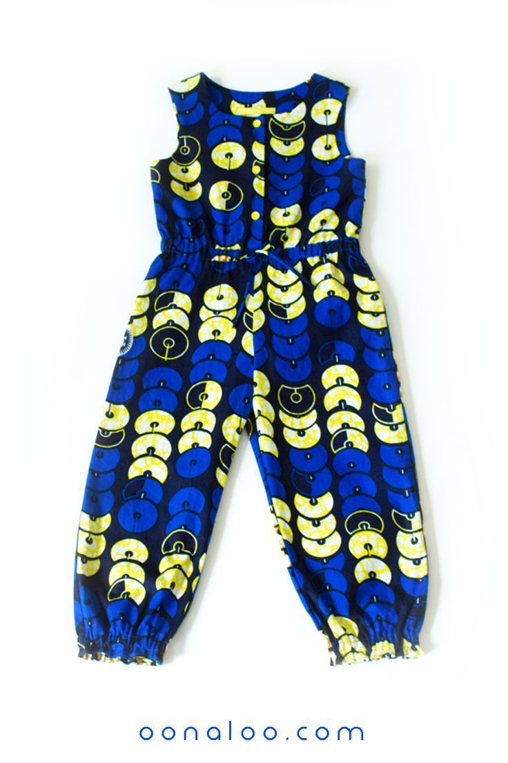 a403dd3844 African Print girl's jumpsuit in blue Ankara, blue kids playsuit in ...