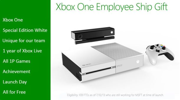 Xbox Employee-exclusive white Xbox One. Man, I want!
