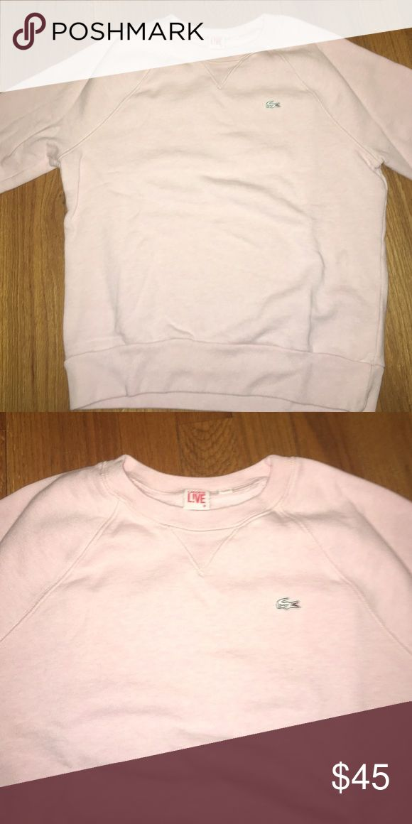 Light Pink Lacoste Sweatshirt! This sweatshirt was only worn a few times and is in amazing condition!! It is really pretty color! Lacoste Sweaters Crew & Scoop Necks