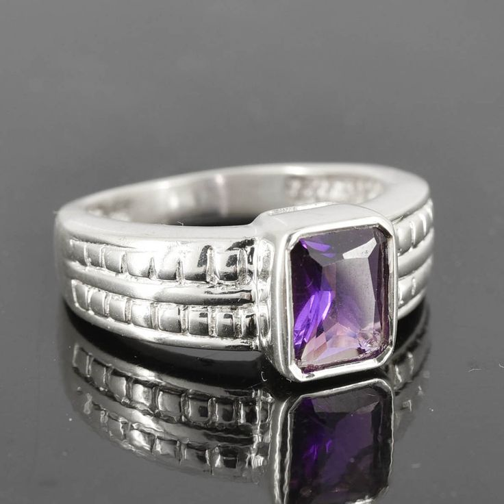 Amethyst Ring, Purple, Emerald Cut, Birthstone Ring, February, Gemstone Ring, Sterling Silver Ring, Solitaire Ring, Statement Ring by JubileJewel on Etsy