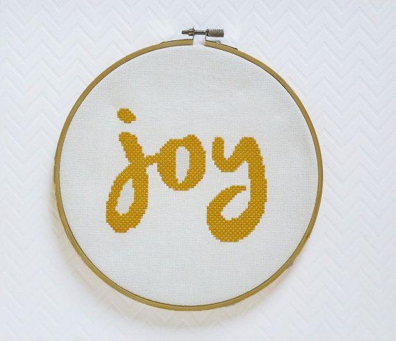 Joy Cross Stitch, Modern Cross Stitch Pattern PDF, Instant Download, Typography…