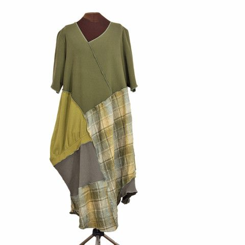 Olive Branch - plus size lagenlook upcycled dress from Secret Lentil Clothing: