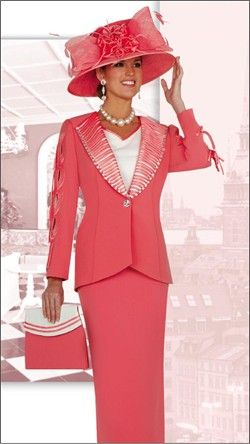 women's church suits and hats | Women's Evening Glamour Designer Middy Skirt Church Suit by ...