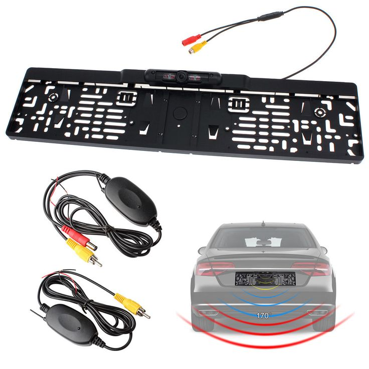 EU Car License Plate Frame 2.4GHz Wireless Rear View Backup Camera Night Vision #Unbranded