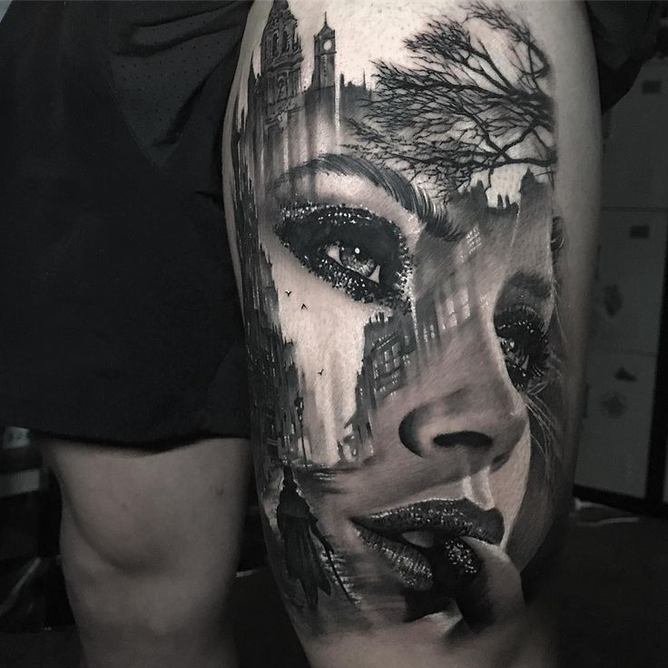 Awesome black and grey tattoo art of morphing girl Face motive done by tattoo artist Chris Showstoppr