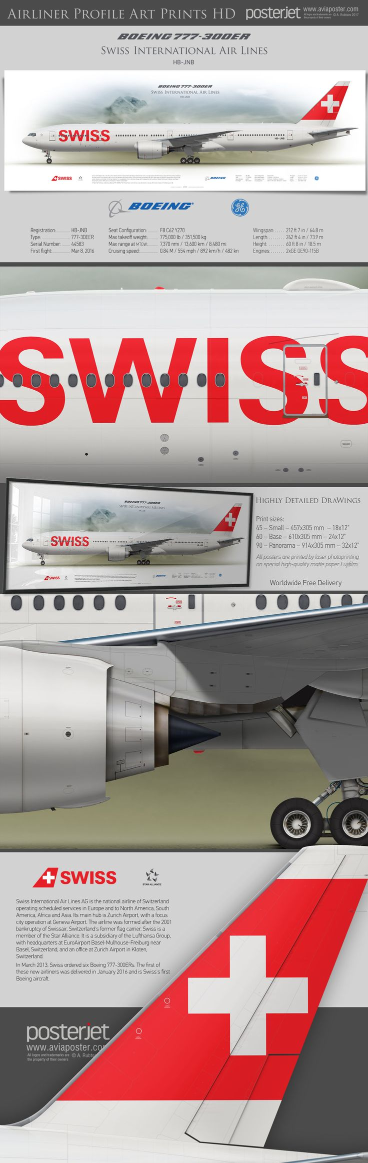 Boeing 777-300ER Swiss International Air Lines HB-JNB | www.aviaposter.com | #airliners #aviation #jetliner #airplane #pilot #aviationlovers #avgeek #jet #airport #pilotlife #cabincrew