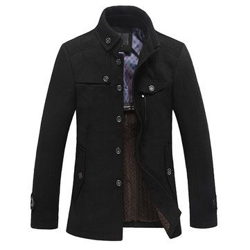 Plus Size Men's Outdoor Jacket Solid Color Casual Business Cotton Coat sales-NewChic Mobile.