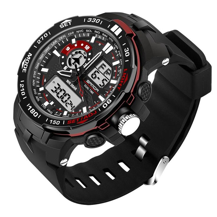 SANDA 737 Fashion Men Dual Display Watch PU Resin Strap Multifunction Sport Watch at Banggood